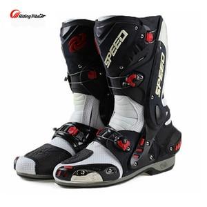 Image 3 - Ulepsz buty motocyklowe Pro wyścigi otwieranie butów profesjonalna jazda antypoślizgowe skórzane buty motocyklowe Mircrofiber