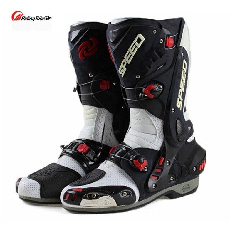 Upgrade Motorrad Stiefel Pro Racing Öffnung Boot Professionelle Reiten Nicht-slip Mircrofiber Leder Motorrad stiefel boote
