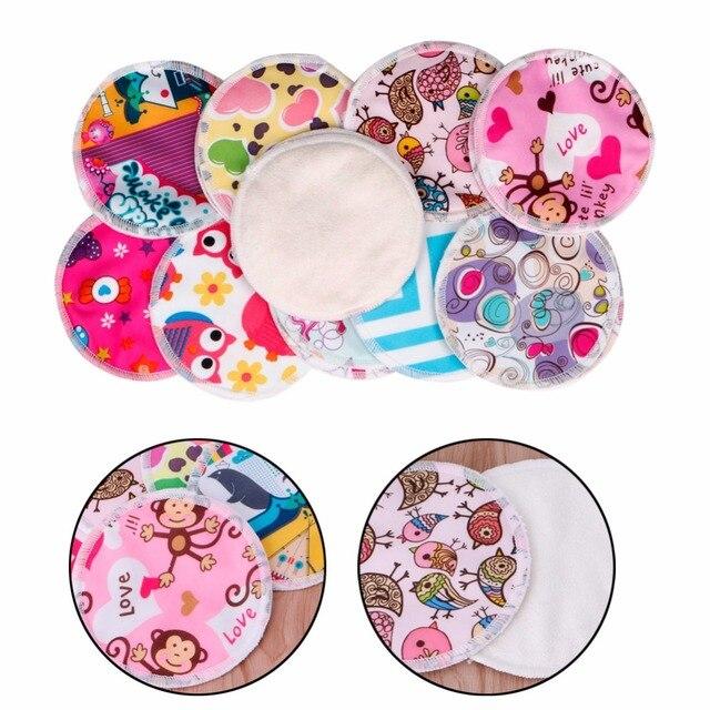 1 pair Bamboo Fiber Leakproof Reusable Washable Nursing Breastfeeding Pad Random Color