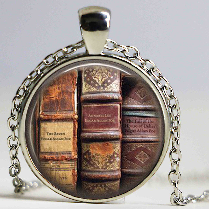 Book Logo Pendant Necklace Edgar Allan Poe Literary Poem Literature Vintage Neckalcee Women Jewelry Friendship Gifts