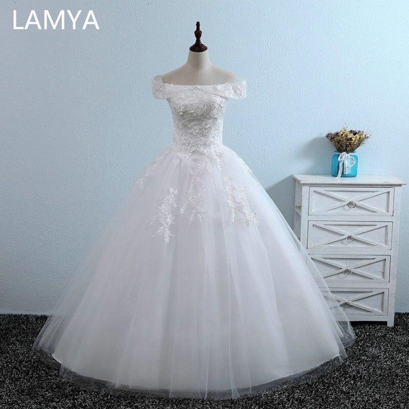 LAMYA 2019 New Arrived Wedding Dresses Cheap Lace Appliques Bridal Gowns Lady Discount Vintage Floor Length Vestidos De Noiva