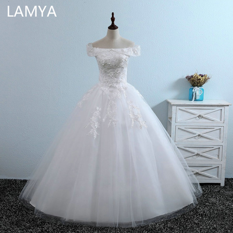 LAMYA 2019 New Arrived Wedding Dresses Cheap Lace Appliques Bridal Gowns Lady Discount Vintage Floor Length Vestidos De Noiva in Wedding Dresses from Weddings Events