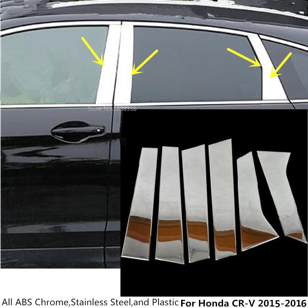 Stainless Chrome Window Pillar Post Cover Trim 6pcs For Honda CR-V CRV 2017 2018