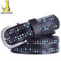[MILUOTA] Moda 100% mulher Cinto De Couro Genuíno decoração Pérola cintos femininos de Metal Pin Buckle Belts Para As Mulheres DE042