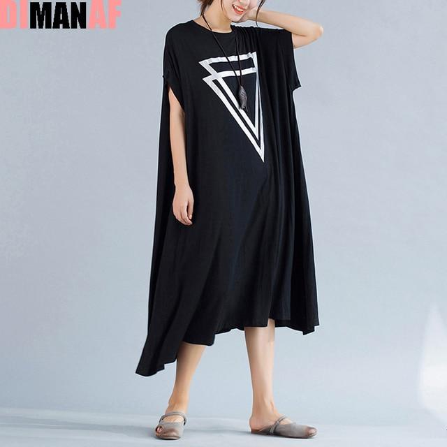 Плюс Размер Женщин Dress Летние Твердые Печать Женский Большой Размер свободные Хлопок Мода Жилет Большой Размер Элегантный О-Образным Вырезом Черный Новый платья