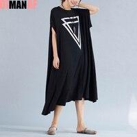 Plus Size Women Dress Summer Solid Print Female Big Size Loose Cotton Fashion Vest Large Size