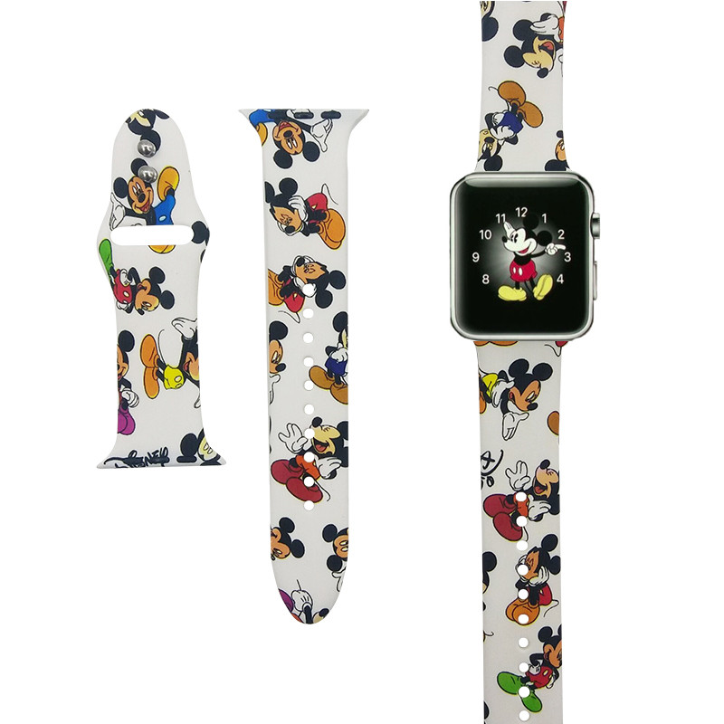 SANYU Soft Silicone Watchband For Apple Watch 38mm 42mm 40mm 44mm 1/2/3/4 Series Band iwatch Cartoon Mickey Bracelet Strap