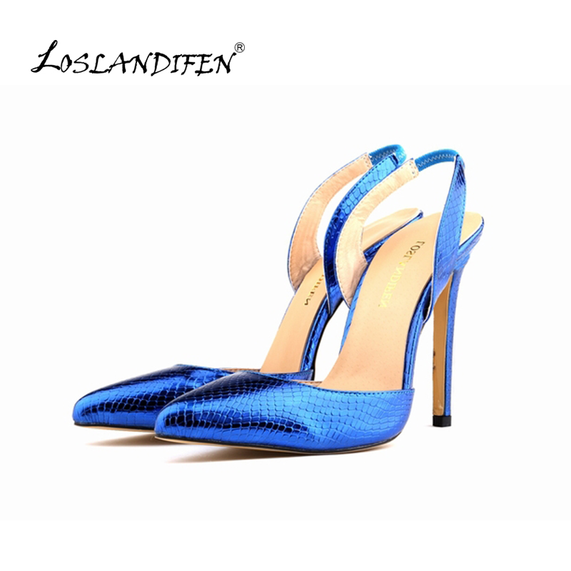 LOSLANDIFEN New Glitter Platform Pointed Toe Women Pumps Slides Thin Heels Shoes for Woman Summer Wedding Party Shoes 302-16XEY gold sliver shoes woman for 2016 new spring glitter bling pointed toe flats women shoes for summer size plus 35 40 xwd1841