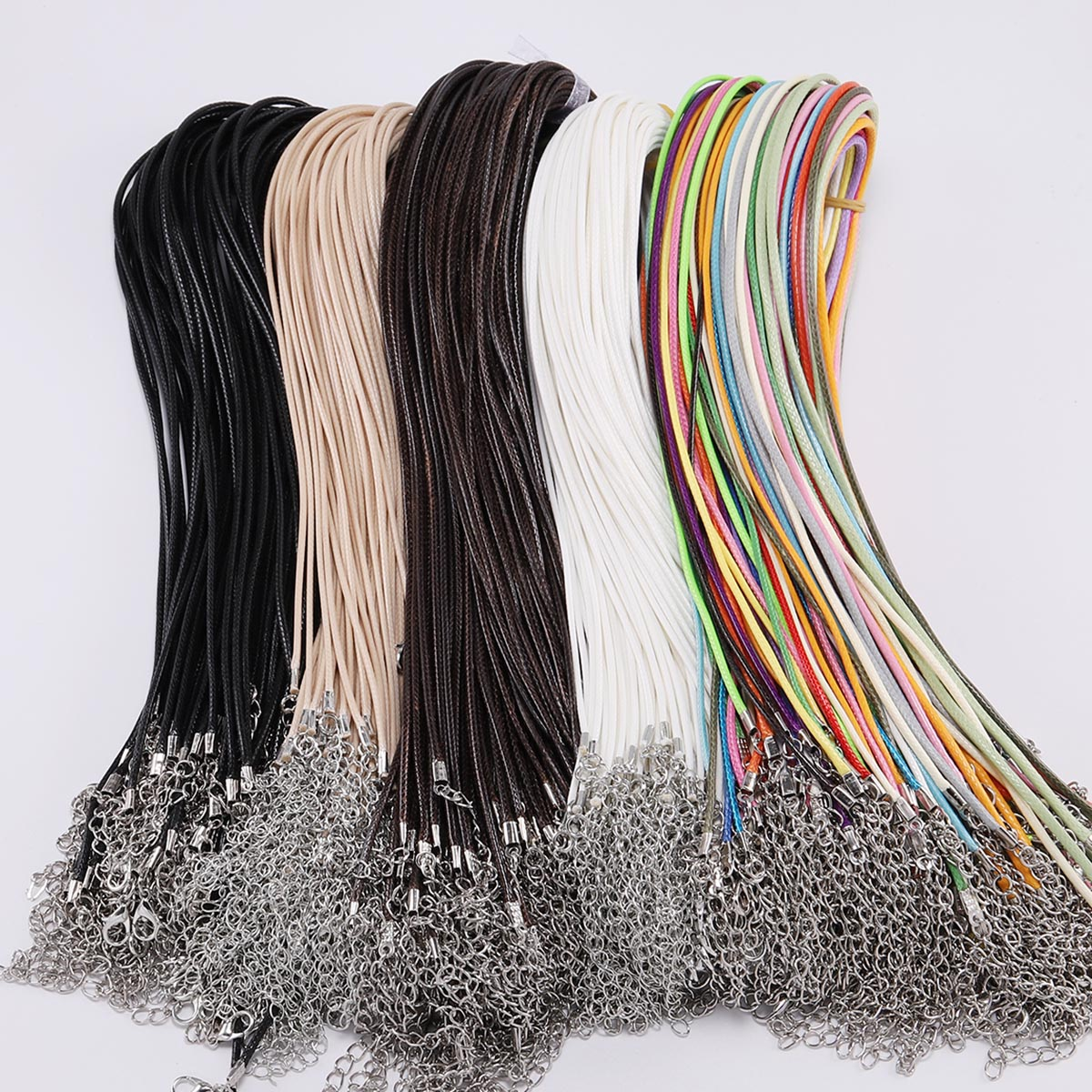 10 Pcs/lot Dia 1.5/2mm Real Leather Cord Necklace With Clasp Adjustable Braided Rope For Jewelry Making DIY Necklace Bracelet(China)