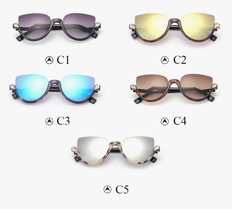 Cat Eye Half Frame Sunglasses Bend Temple Half Frame Diamond Lady ...