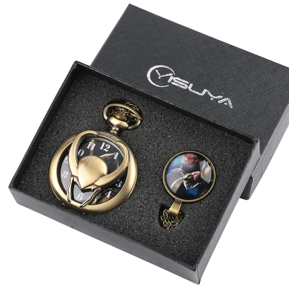 Pocket Watch Loki Helmet Design Quartz Fob Pocket Watches Necklace Pendant Chain For Men Women Gift Set
