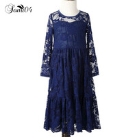2017 Girl Lace Long Dress With Sweet Flower For School Baby Kids Girls Princess Lace Wedding