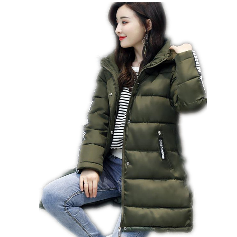 plaid down jacket with pockets 2017 Fashion Winter Women Down Cotton Jacket Parka Female Hooded Loose With Letter Zippers Pockets Cotton Outerwear Parka CQ316