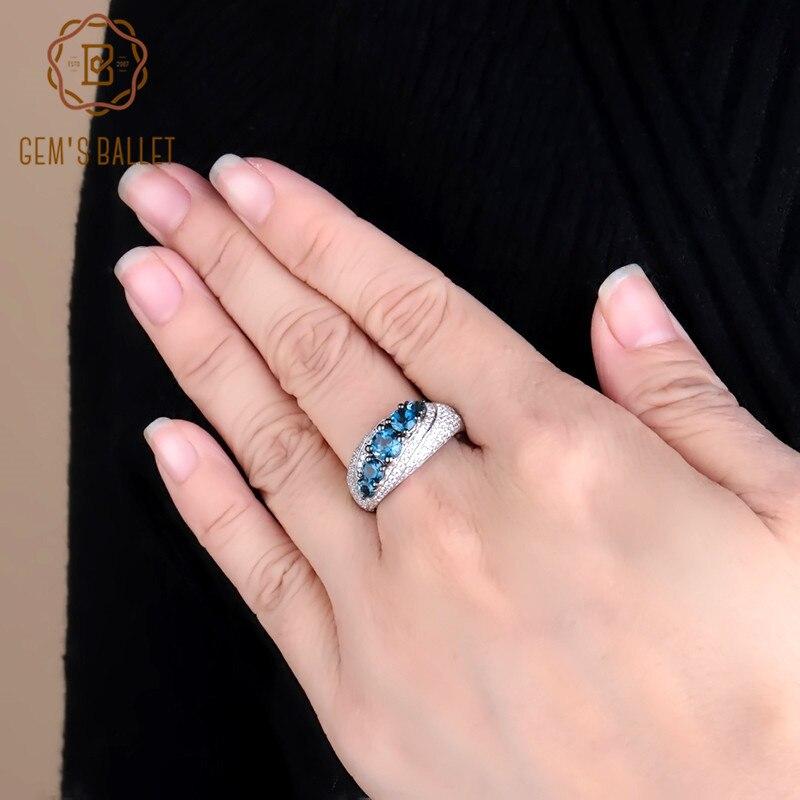 Gem's Ballet Natural London Blue Topaz Ring Genuine 925 Sterling Silver Round Gemstone Vintage Rings For Women Fine Jewelry