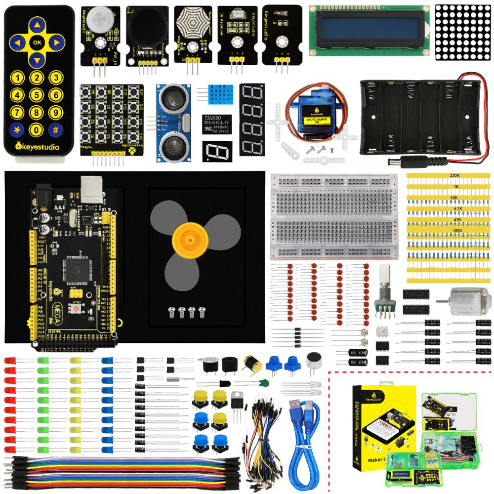 Keyestudio Maker Starter Kit(MEGA 2560 R3)For Arduino Project W/Gift Box+User Manual+1602LCD+Chassis+PDF(online)+35Project+Video-in Integrated Circuits from Electronic Components & Supplies