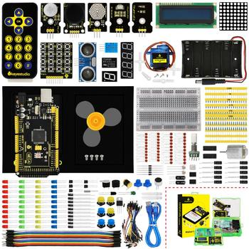 Keyestudio Maker Starter Kit(MEGA 2560 R3)For Arduino Project W/Gift Box+User Manual+1602LCD+Chassis+PDF(online)+35Project+Video недорого