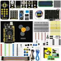 Keyestudio maker starter kit (mega 2560 r3) para arduino projeto com caixa de presente + manual do usuário + 1602lcd + chassi + pdf (online) + 35 projeto + vídeo