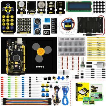 Zestaw startowy Keyestudio Maker (MEGA 2560 R3) do projektu Arduino W pudełku upominkowym + instrukcja obsługi + 1602LCD + podwozie + PDF(online)+ 35 projekt + wideo tanie i dobre opinie Nowy Napęd ic Elektryczne zabawki 0-40