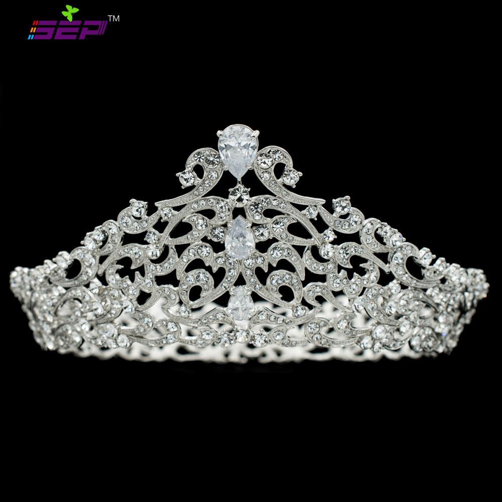 Real Austrian Crystals CZ Full Round Silver Tiara Crown for Bridal Wedding Hair Jewelry Accessories Women Headpiece SHA8730Real Austrian Crystals CZ Full Round Silver Tiara Crown for Bridal Wedding Hair Jewelry Accessories Women Headpiece SHA8730