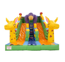 Inflatable double slide bouncer used playground outdoor fun pvc inflatable