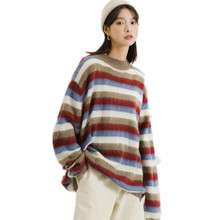 CSGTM 2018 Autumn Womens Striped Loose Lazy O Neck Pullover Hong Kong Mohair  Sweater 7a9908e8d