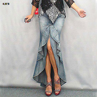 Women S Long Denim Skirts Fishtail Double Layer Vintage Washed Mermaid Ruffles Irregular Maxi Bodycon Skirts