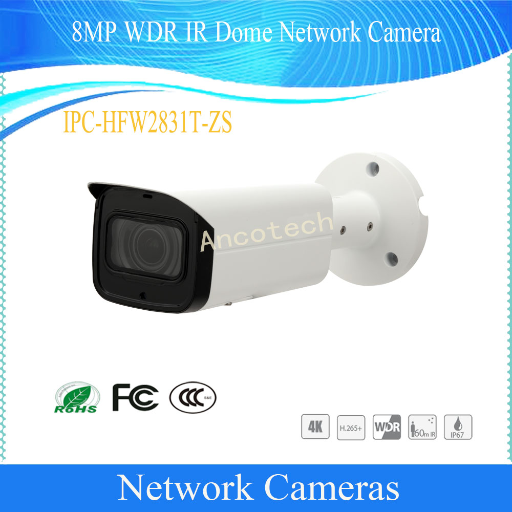 Free Shipping DAHUA Security CCTV IP Camera 8MP Waterproof WDR IR Dome Outdoor Network Camera With POE IP67 DH-IPC-HFW2831T-ZS