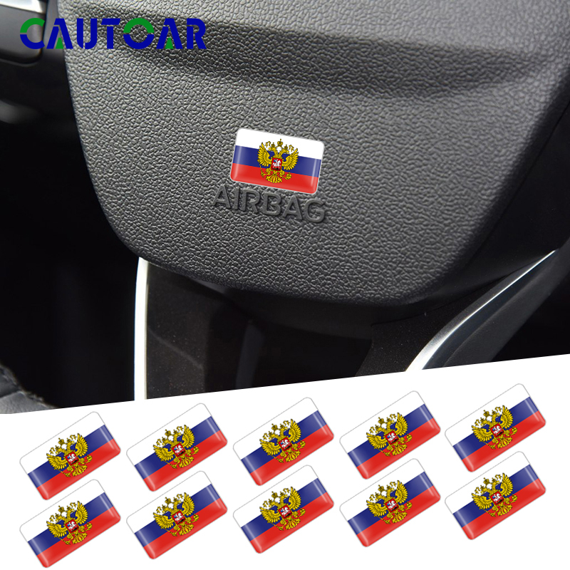 Car Styling 50Pcs Coat Of Arms Of Russia Car 3D Decoration Stickers Decals Russian Federation Eagle Emblem Laptop Phone Decals