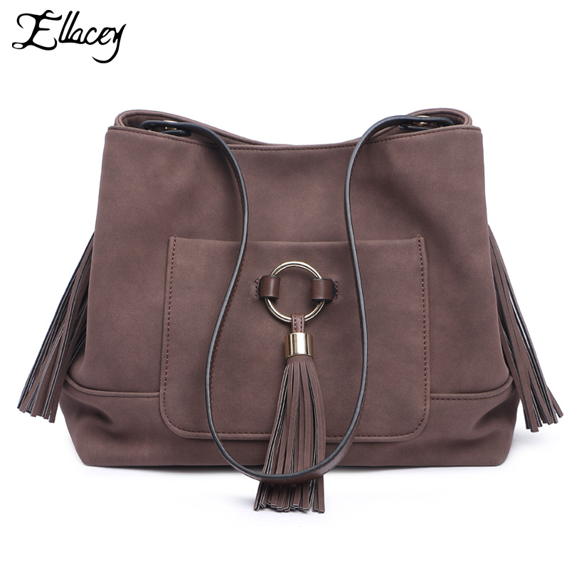 2016 ELLACEY Brand Vintage Women Shoulder bag Retro Tassel Bucket Bag Women Handbag Fashion CrossBody Bag