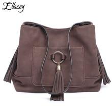 2016 ELLACEY Marke Vintage Frauen umhängetasche Retro Quaste Eimer Tasche Frauen Handtasche Mode CrossBody Tasche Casual Umhängetasche