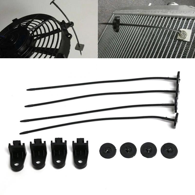 1Set Car Vehicle Electric Radiator Fan Mounting Kit Plastic Ties Strap Universal