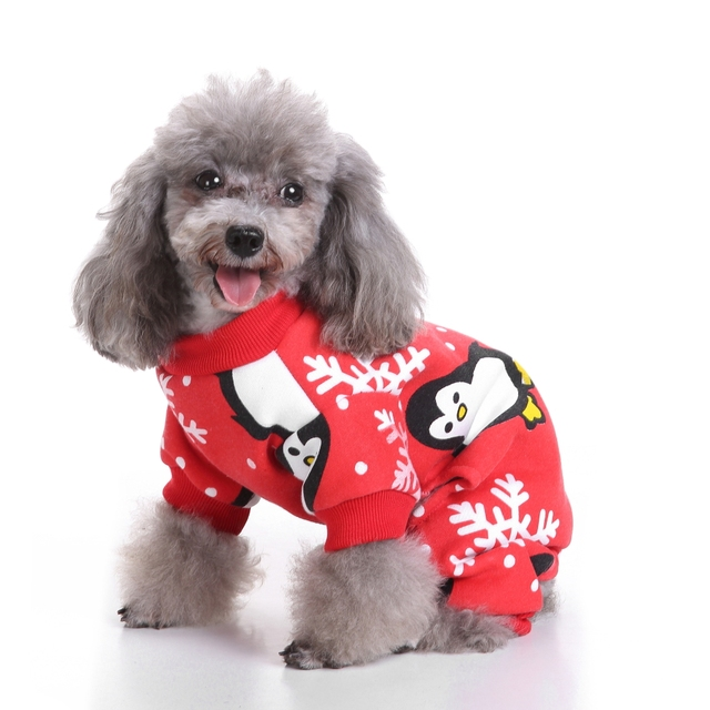 cute penguin xmas pet clothes for dog pajamas soft christmas pjs red