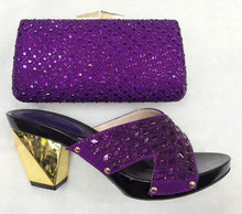 2017 Latest Italian Shoes With Matching Bags Women Purple Color Nigeria Wedding Shoes And Bag To Match With Stones TT28