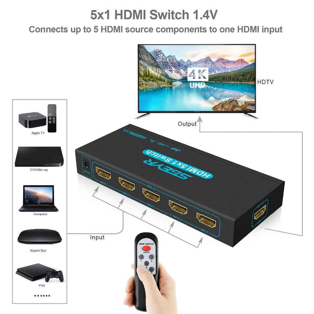 4K 5 منفذ HDMI التبديل 5 في 1 خارج محول HDCP HDMI الجلاد الخائن 1080P ربط 5 أجهزة HD إلى 1 HDTV PS3 DVD مع الأشعة تحت الحمراء عن بعد