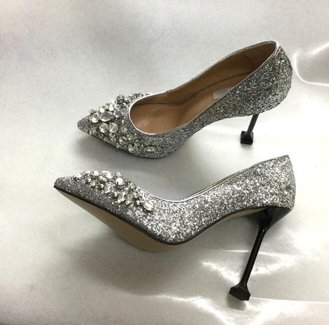 Mode cristaux femmes pompes à talons hauts Style Designer talons fins chaussures bout pointu chaussures de fête printemps vin verre chaussures à talons