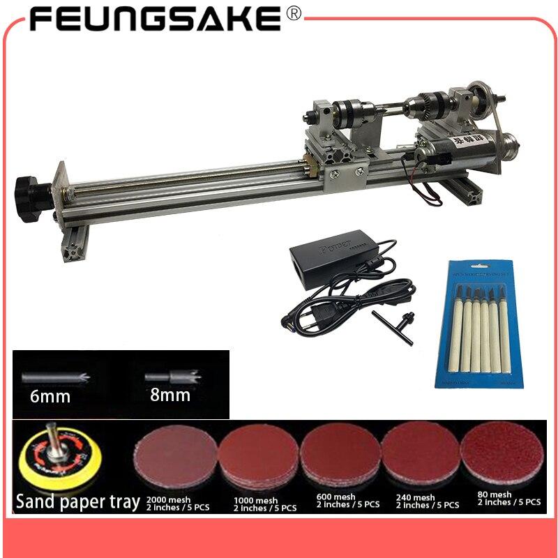 Bricolage tour à bois Mini tour Machine polisseuse Table scie pour le polissage de la coupe, métal mini tour/didactique bricolage tour silencieux rotation