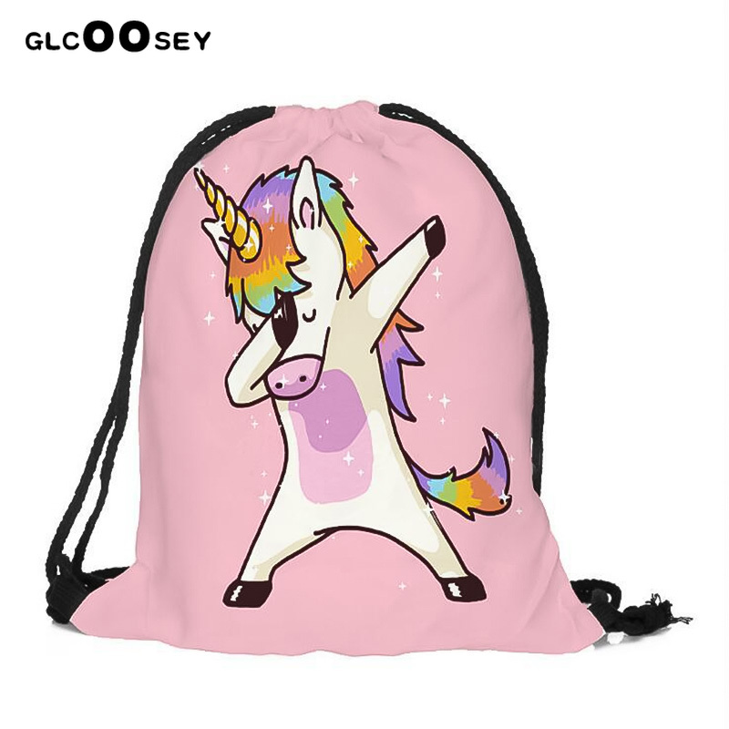 Gril's Funny Unicorn Bags 2PCS Hot Sale High-quality 3D Digital Printing Drawstring Bag Child Unicorn Drawstring Pocket Backpack