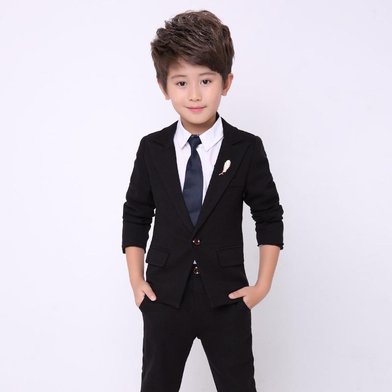 Flowers Boys Formal Jacket + Pants 2Pcs Wedding Suit Birthday Party Dress Kids Piano Tuxedo Children Prom Performance Costume 1