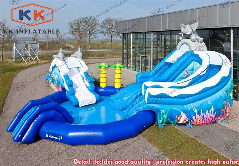Glissière d'eau gonflable de parc aquatique de piscine de thème de mer