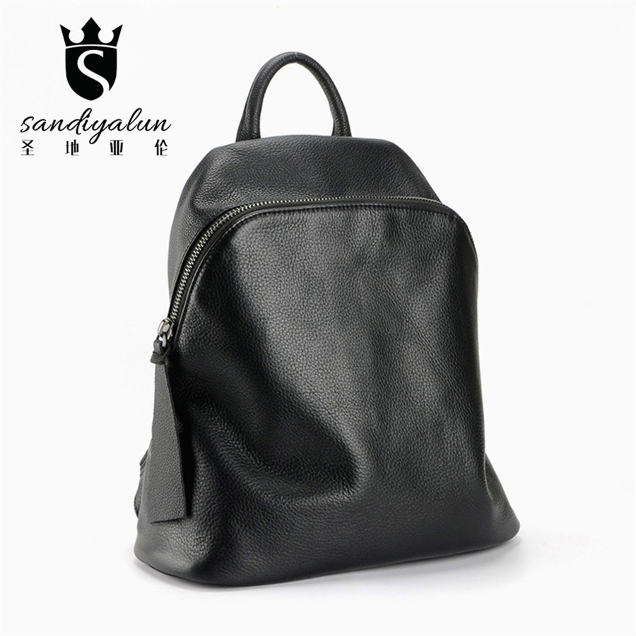 2017 New Soft Genuine Leather Woman Backpack Fashion  Black Backpacks Vintage School Bags For Teenagers High Quality Women Bag high quality women leather backpacks vintage backpack women school bags 2015 new arrival bags design wholesale backpacks bb28