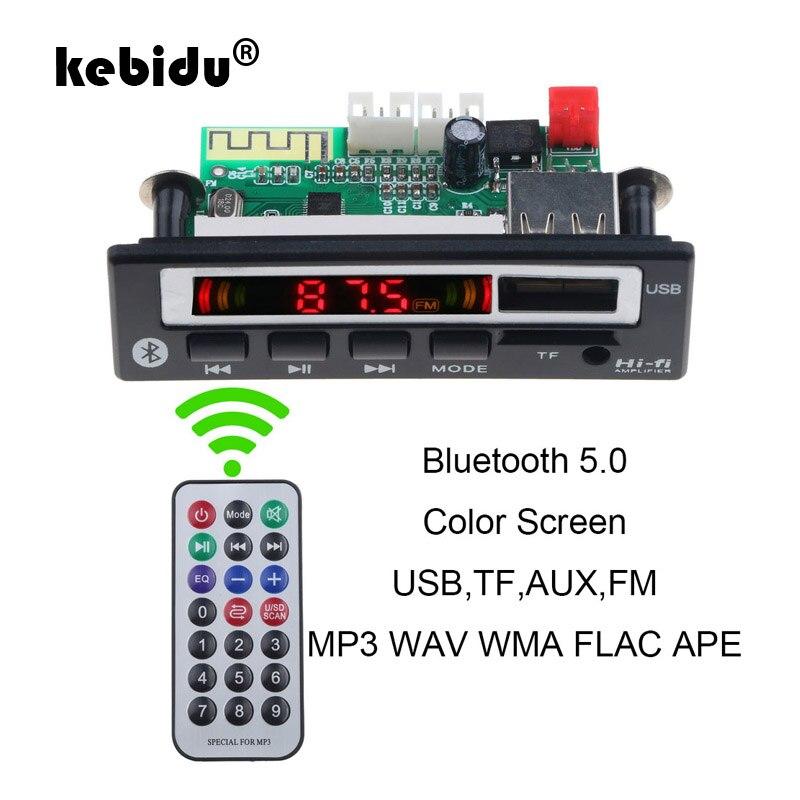 Kebidu Bluetooth 5,0 MP3 декодер доска для рисования 5V 12V аудио модуль для автомобиля дистанционного Музыка Динамик автомобилей MP3 USB FM TF плата радиопри...
