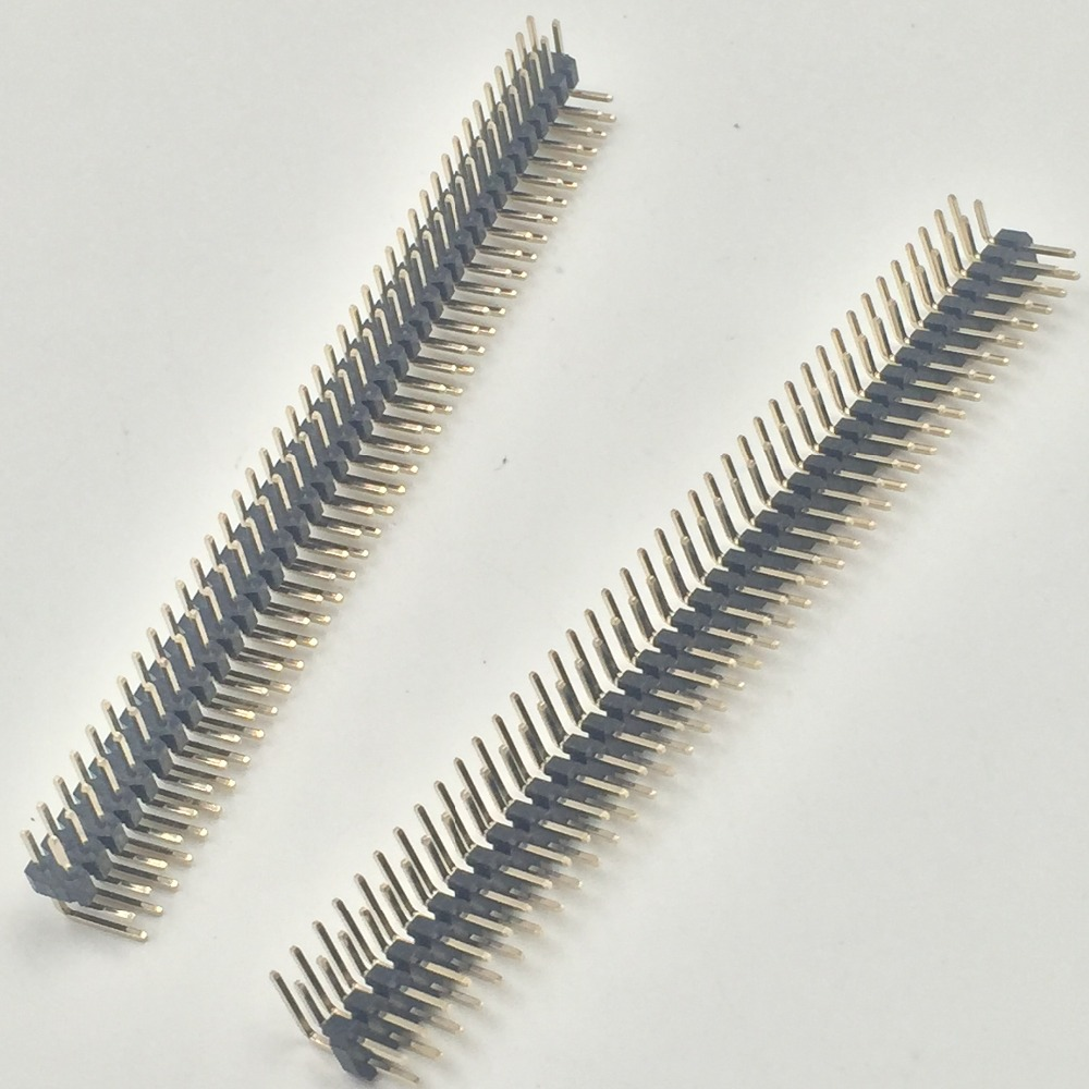 20pcs 40P Double Row Right Angle Pin Male Header Strip 2mm Pitch 5pcs pitch 2 54mm 2x40 pin 80 pin double row right angle male pin header strip connector
