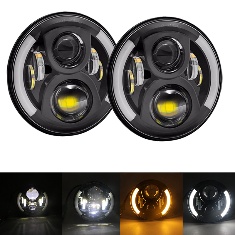 For Hummer H1 H2 Led Headlight 65w 7 Inch LED Headlights High Low Beam Angel Eye DRL Amber Turn Signal for Jeep Wrangler JK Lamp headlight for kia k2 rio 2015 including angel eye demon eye drl turn light projector lens hid high low beam assembly