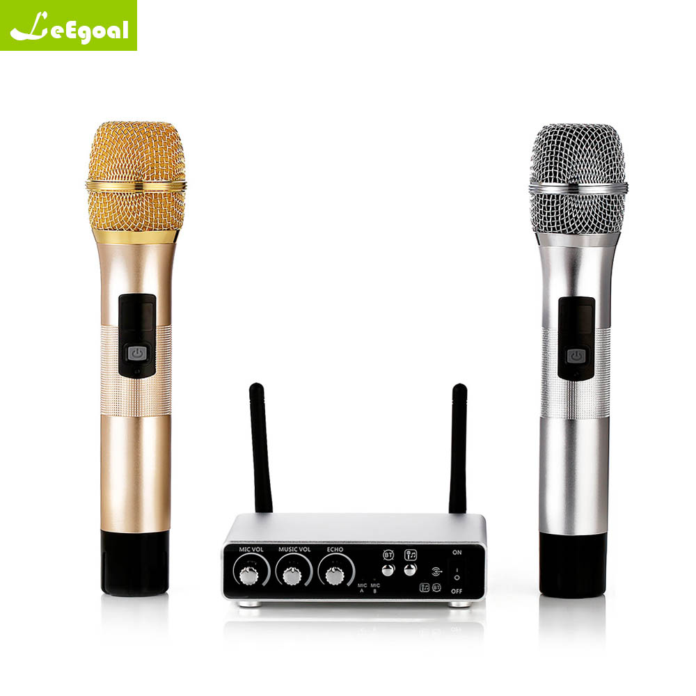 Leegoal K28 K38 Wireless Dual Channel Microphone Adjustable Echo Volume Digital Low Distortion For Home Entertainment Conference