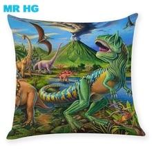 Pillow Case Gift Dinosaur linen pillowcase One side printing Home Decration pillow cushion Case 45x45cm Cojines