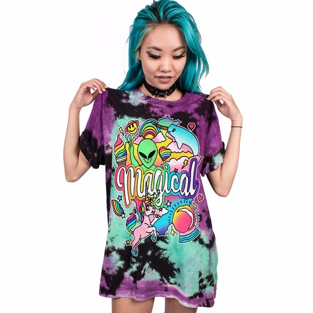 Nuevas mujeres Blusa Alien carta impresión Camisetas manga corta suelta suave pareja desgaste longitud larga Camisetas Punk ocio camiseta mujeres