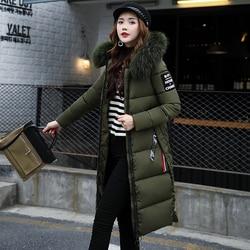 Winter Women's Down Parkas Winter Jacket Big Fur Thick Slim Long Coat Fashion Zipper Hooded Female Long Outerwear C88023L 4