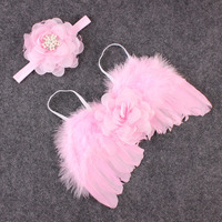 Pink Angel Feather Wings Wing Set with Headband Feather Butterfly Wings Photo Prop Girls Hair Accessories
