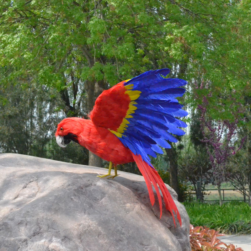 Jouet modèle de perroquet de Macaw de simulation, grand 40x60 cm ailes écartantes plumes oiseau plastique mousse et plumes perroquet, cadeau de noël w5596