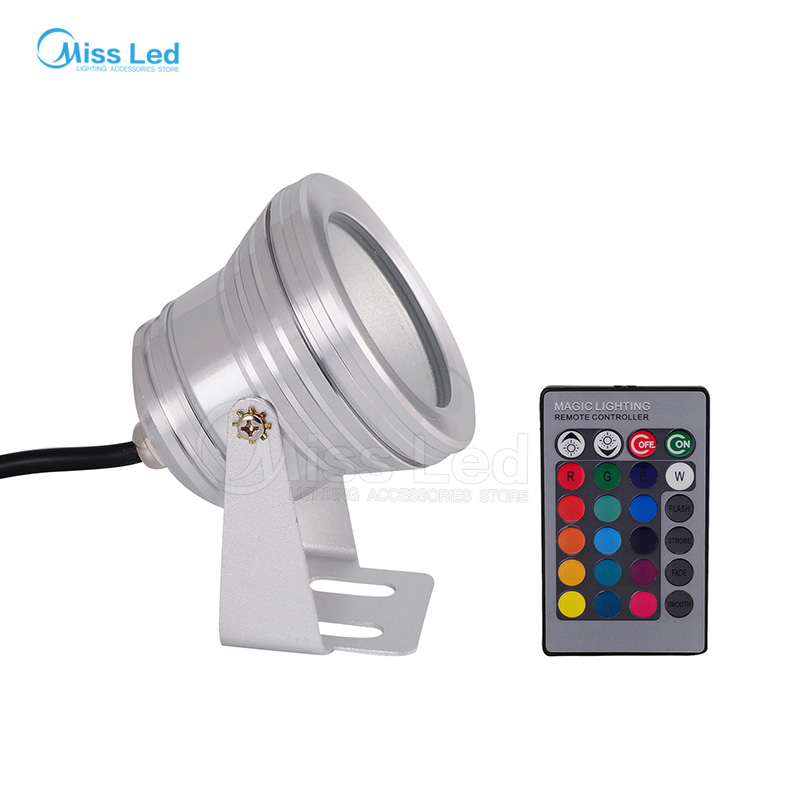 Exp 10W 85-265V Silver Led Underwater Floollight Pool landscape grass park lake mirror Glass RGB/Warm/Cold white IP65 Waterproof